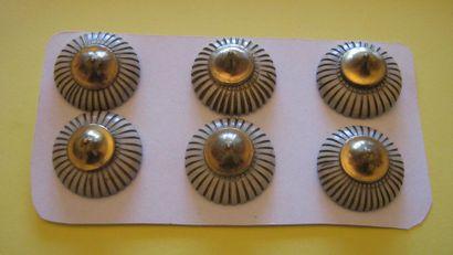 6 boutons en plastique et cône en métal doré....