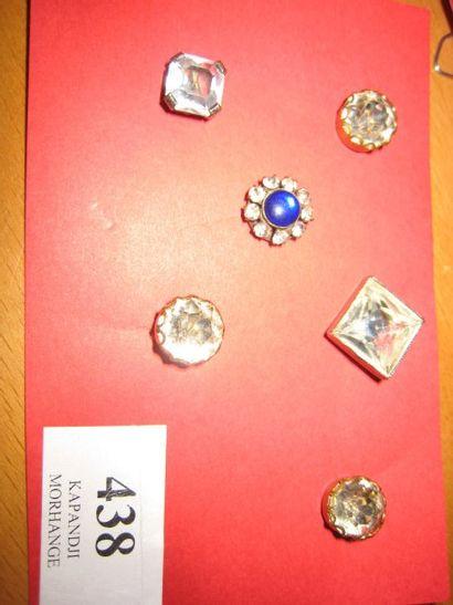 6 boutons en verre monté sur métal façon...