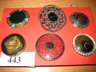 6 boutons en verre ornés d'émail, de strass...