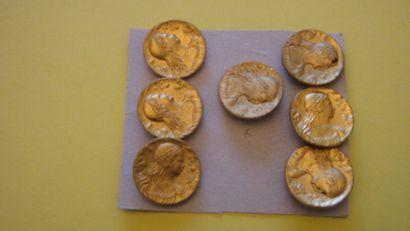 7 boutons en métal doré à décor de tête de...