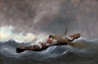 "ADAM, Edouard I (1847-1929) "" Le bateau à vapeur Carlisle dans la tempête "" Huile..."