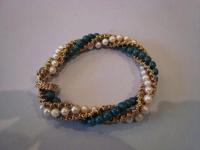 Bracelet tressé 3 rangs : or jaune, perles...