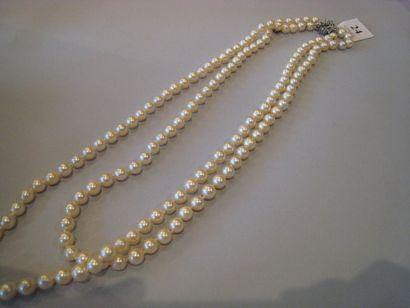 Collier de perles de culture deux rangs,...