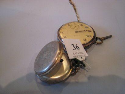 2 montres de gousset en argent, l'une avec...