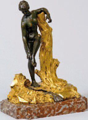 SCULPTURE.En bronze doré et bronze à patine...