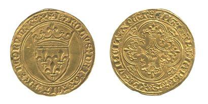 *CHARLES VI (1380-1422). Ecu d'or à la couronne....