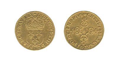 *LOUIS XIII (1610-1643). Ecu d'or au moulin....