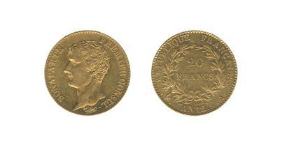 *CONSULAT (1799-1804). 20 francs. Paris....