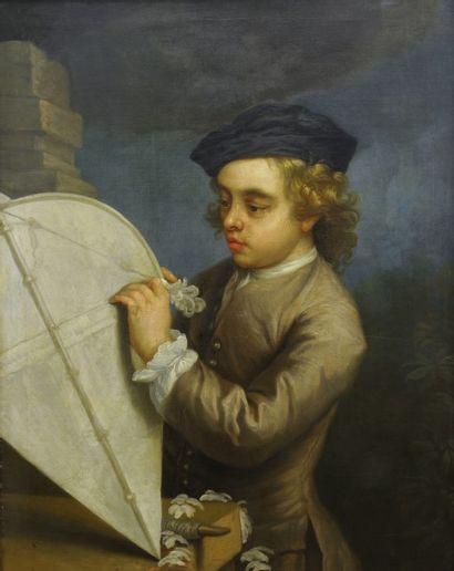 *Attribué à Philippe MERCIER  (Berlin 1689 - Londres 1760)  Enfant jouant avec un...
