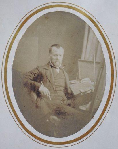 PEINTRE DANS SON ATELIER, années 1850. par...