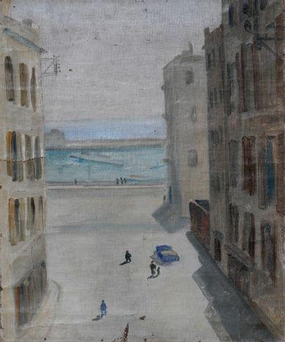 *DELSOL Émile.  Port d'Alger vers 1950.  Huile...