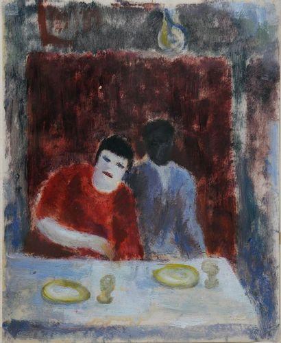 *ÉCOLE MODERNE.  Couple à table.  Huile sur...