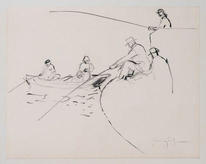 *GENIS René (1922-2004).  Pêcheurs à la ligne....