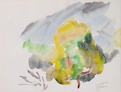 *LAUNOIS Jacques.  Étude de paysage.  Aquarelle...