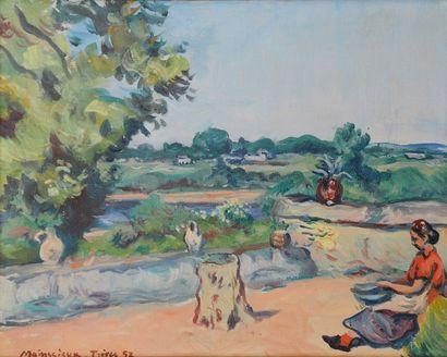 *MAINSSIEUX Lucien (1885-1958).  Terrasse...