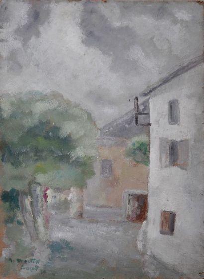 *MARTIN Robert (1915-2002).  Vue de village....
