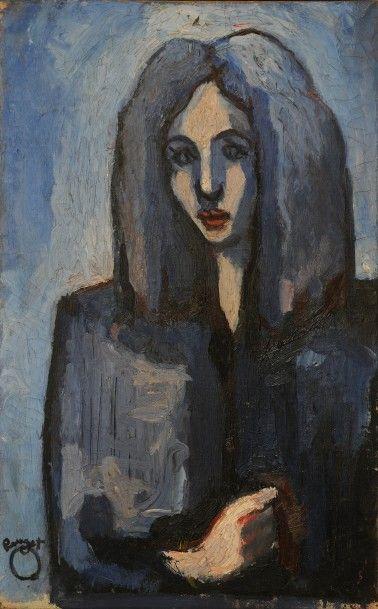 *POUGET Marcel (1923-1985). Né à Oran.  Portrait...
