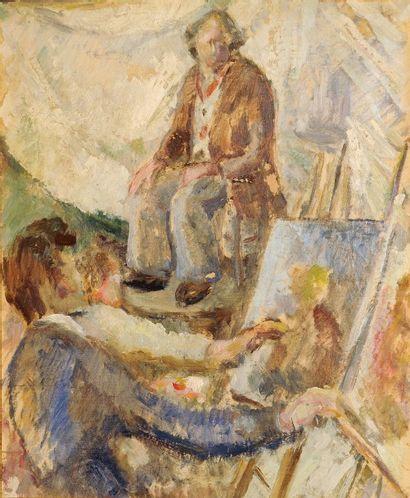 *MARTIN Robert (1915-2002).  Les élèves peignant...