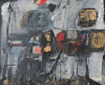 *CLAVÉ Antoni (1913-2005).  Les guerriers, 1960.  Technique mixte et collage signé...