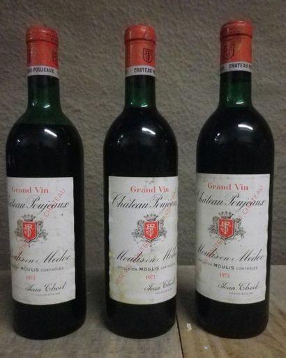 3 Bouteilles Château Poujeaux, 1973  Etiquette...