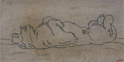 BARYE, Antoine Louis (1795-1875). Lion couché sur le dos. Dessin sur papier-calque...