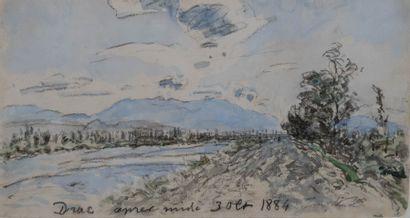 JONGKIND Johan-Barthold (1819-1891). Drac, après-midi. Aquarelle gouachée et crayon...