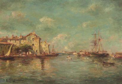 PETITJEAN Edmond (1844-1925). Voiliers et barques auprès du petit port de pêche....