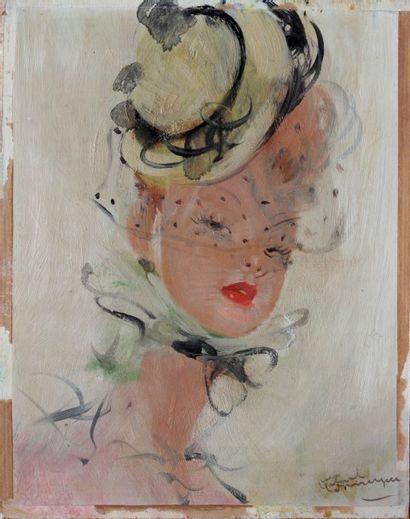 DOMERGUE Jean Gabriel (1889-1962).  Portrait...