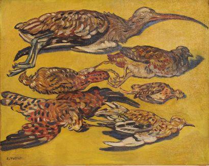 *VALTAT Louis (1869-1952). Nature morte au gibier, 1919. Huile sur toile signée...