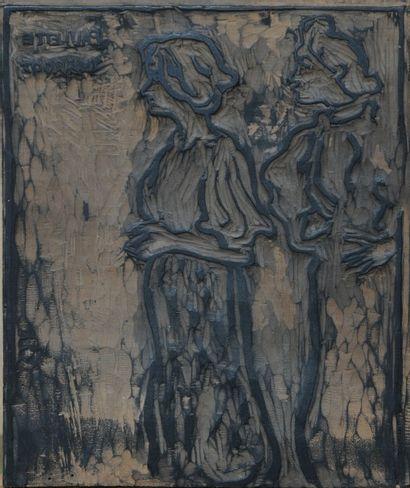 *VALTAT Louis (1869-1952).  Paulette et Margot.  Matrice en bois pour la gravure....