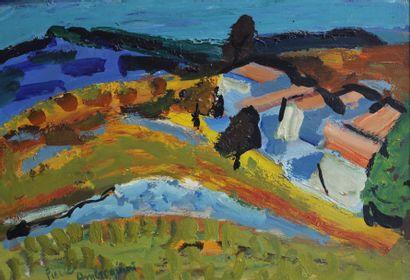 AMBROGIANI Pierre (1907-1985).  Paysage du midi.  Huile sur panneau signée en bas...