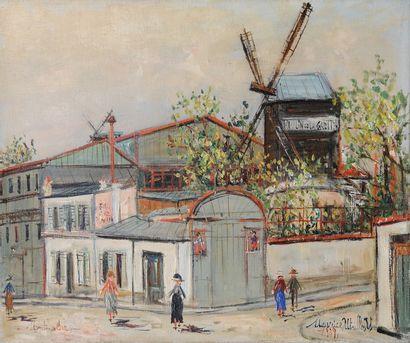 *UTRILLO Maurice (1883-1955). Le Moulin de la Galette, 1939. Huile sur toile située...