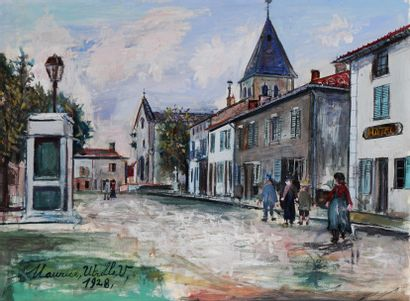 *UTRILLO Maurice (1883-1955) Vue de village....
