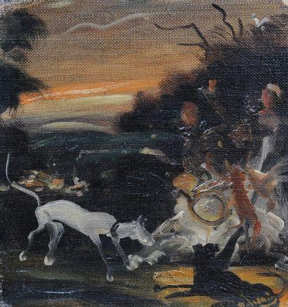 *DERAIN André (1880-1954). Scène de chasse. Huile sur toile signée en bas à droite....