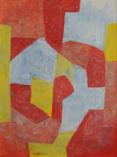 *POLIAKOFF Serge (1900-1969). Rouge bleu...