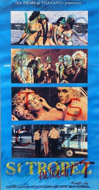 ROTELLA Mimmo (1918-2006).  Saint-Tropez, 1986.  Affiche marouflée sur toile, et...
