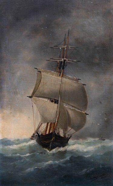 ADAM (Marie-Edouard) (1847-1929). Trois-mâts dans la tempête, Havre, 1890. Huile...