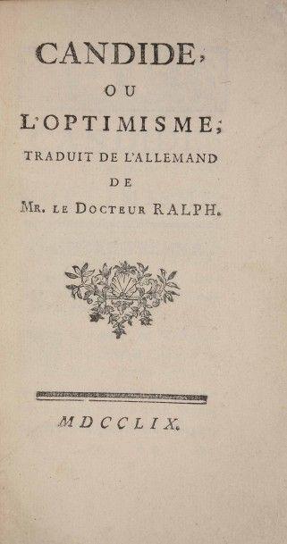 [VOLTAIRE]. Candide, ou l'optimisme, traduit...