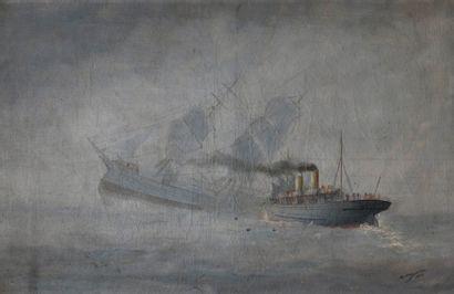 ADAM (Marie-Edouard) (1847-1929). La collision entre l'Alma et le Cambrian Princess...