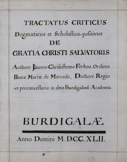 [Manuscrit]. [Bordeaux]. [Théologie]. FERBOS...
