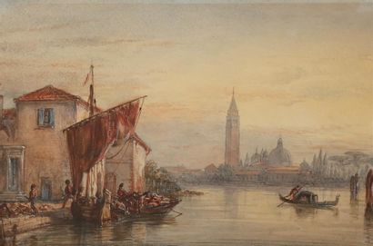 William WYLD (1806-1889). Vue de Venise....