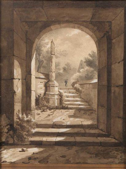 Ecole française du XIXème siècle. Ruine en...