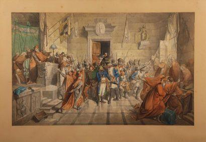 Ecole française du XIXème siècle. Coup d'Etat...