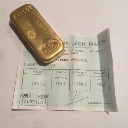 Un lingot d'or (0995/1000) numéroté 486505...