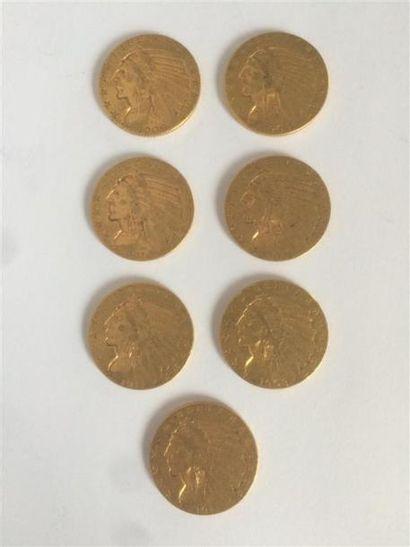 1 x 5 dollars Sioux, 1908. 2 x 5 dollars...