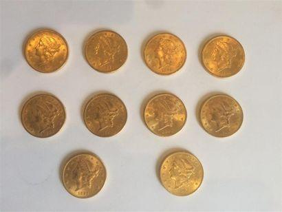 1 x 20 dollars Liberté , 1873. 2 x 20 dollars...