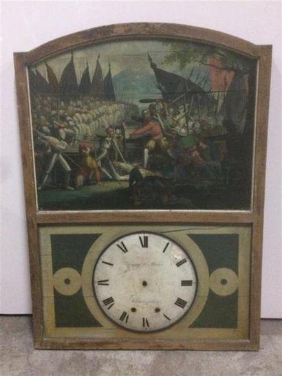 Une horloge moderne dans sa partie supérieure une huile sur panneau dans le gout...
