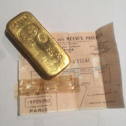 Un lingot d'or (0996/1000) numéroté 413022...