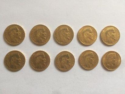 3 x 20 francs Napoléon tête nue, 1854, lettre...