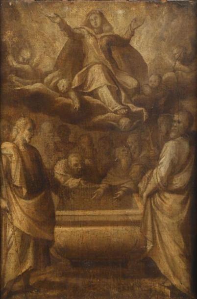 École ITALIENNE vers 1620. L'Assomption de...